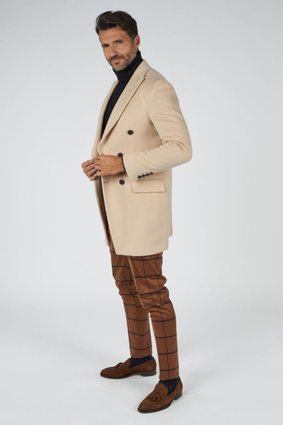 Cappotto lana mohair beige